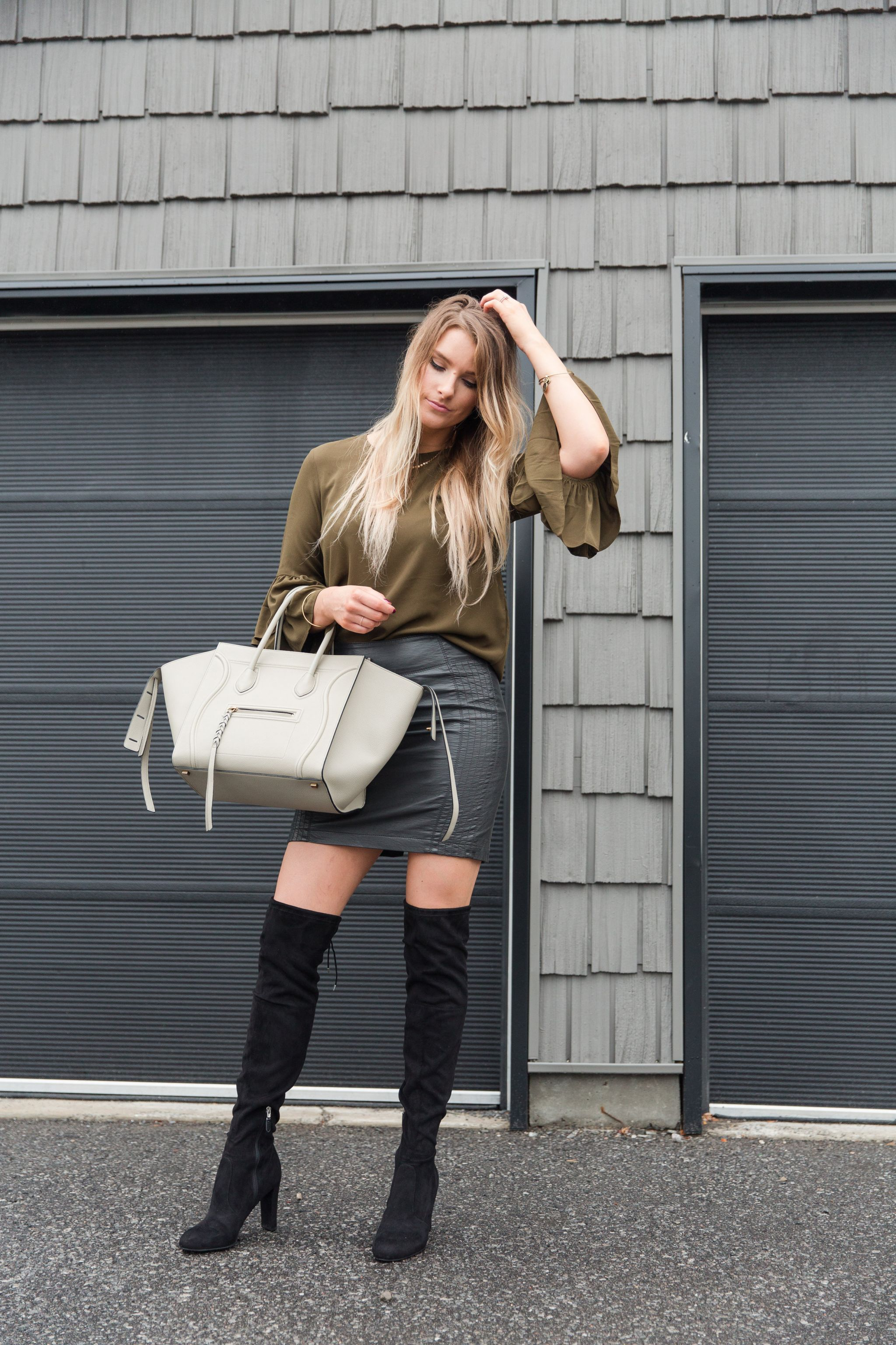 29e3531abd leather skirt, life with aco, bell sleeve top, celine bag, otk boots, fall  outfit