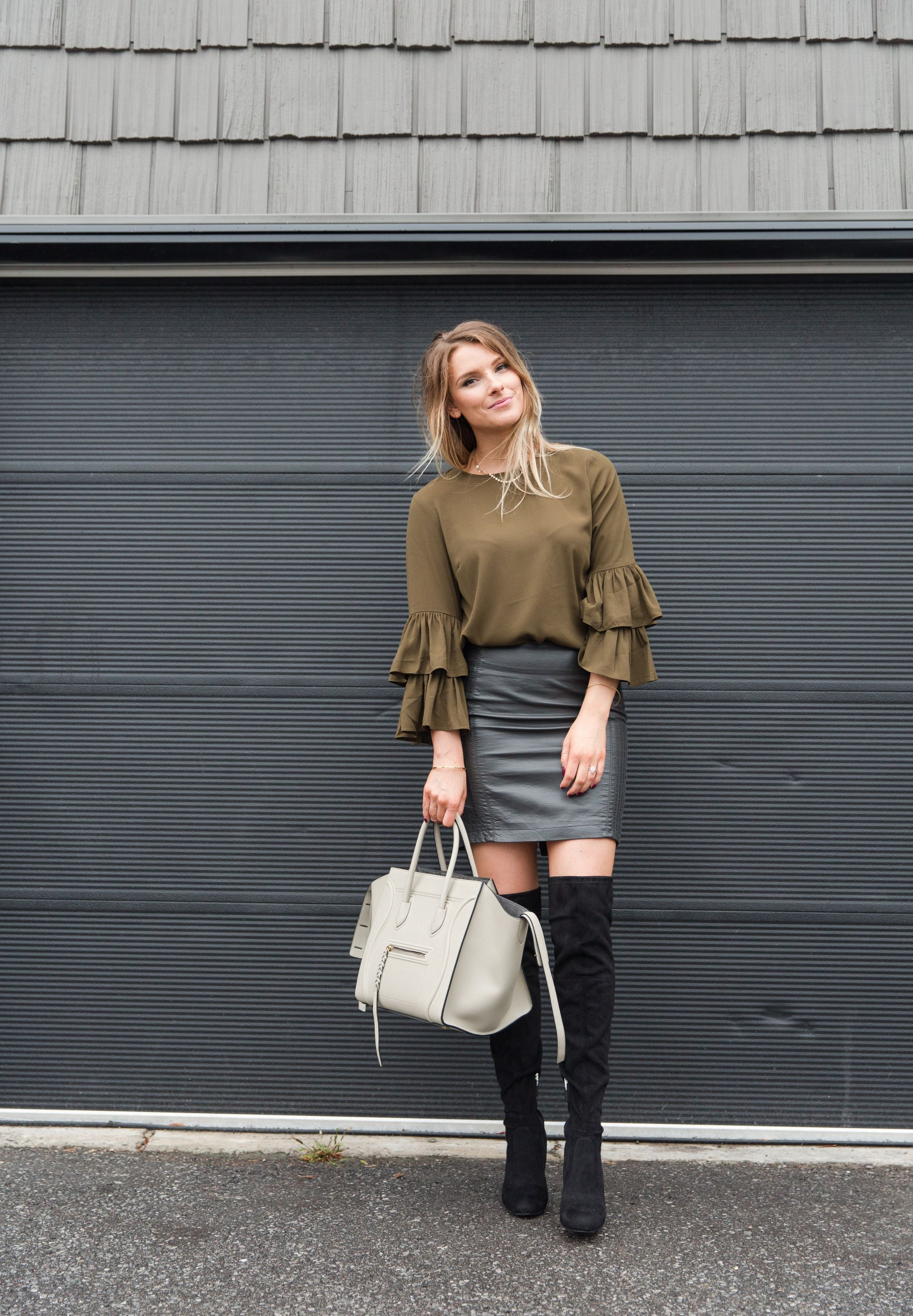 ea8a46012a life with aco, bell sleeve top, celine bag, otk boots, fall outfit inspo