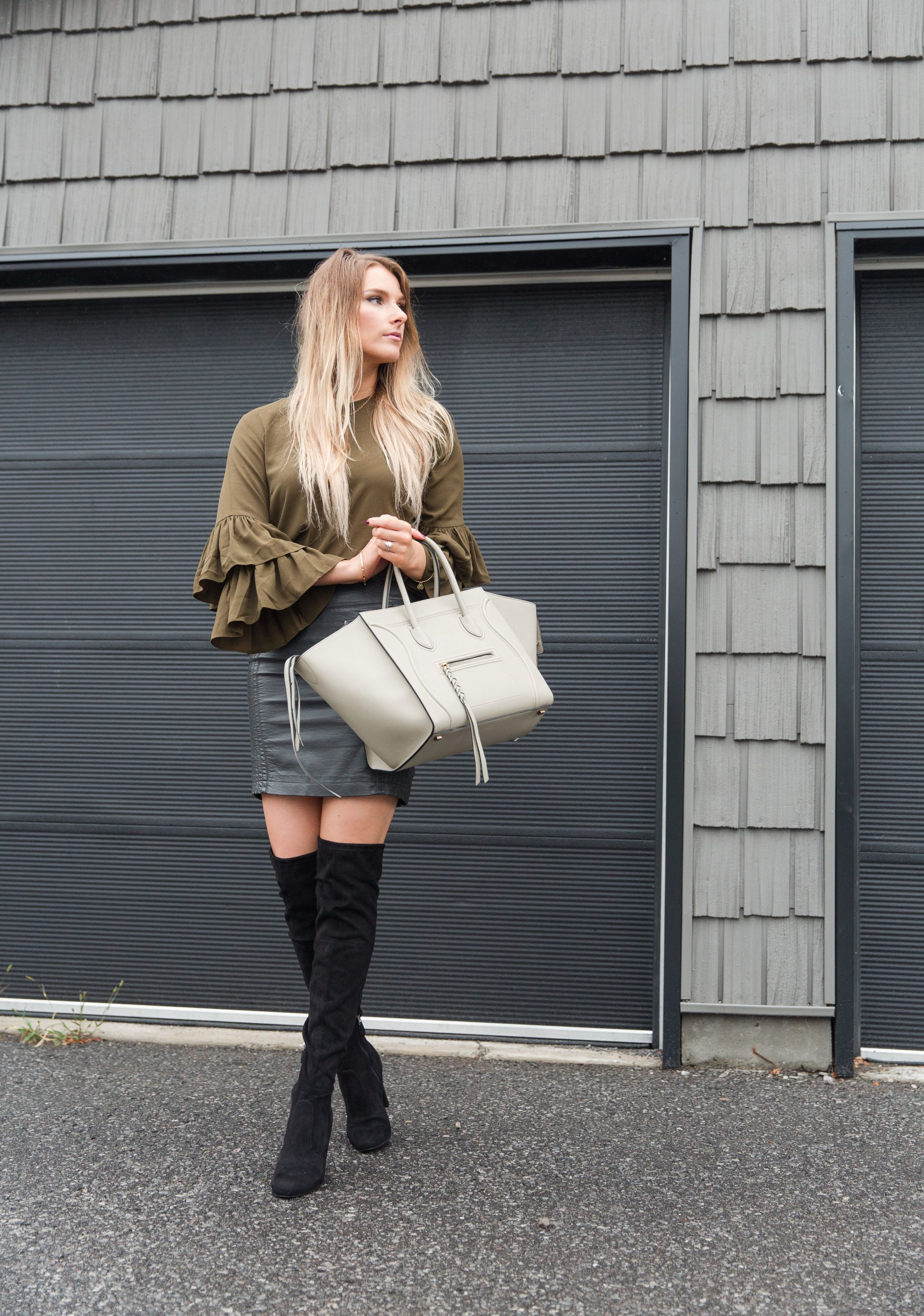 8f379631af life with aco, bell sleeve top, celine bag, otk boots, fall outfit, leather  skirt