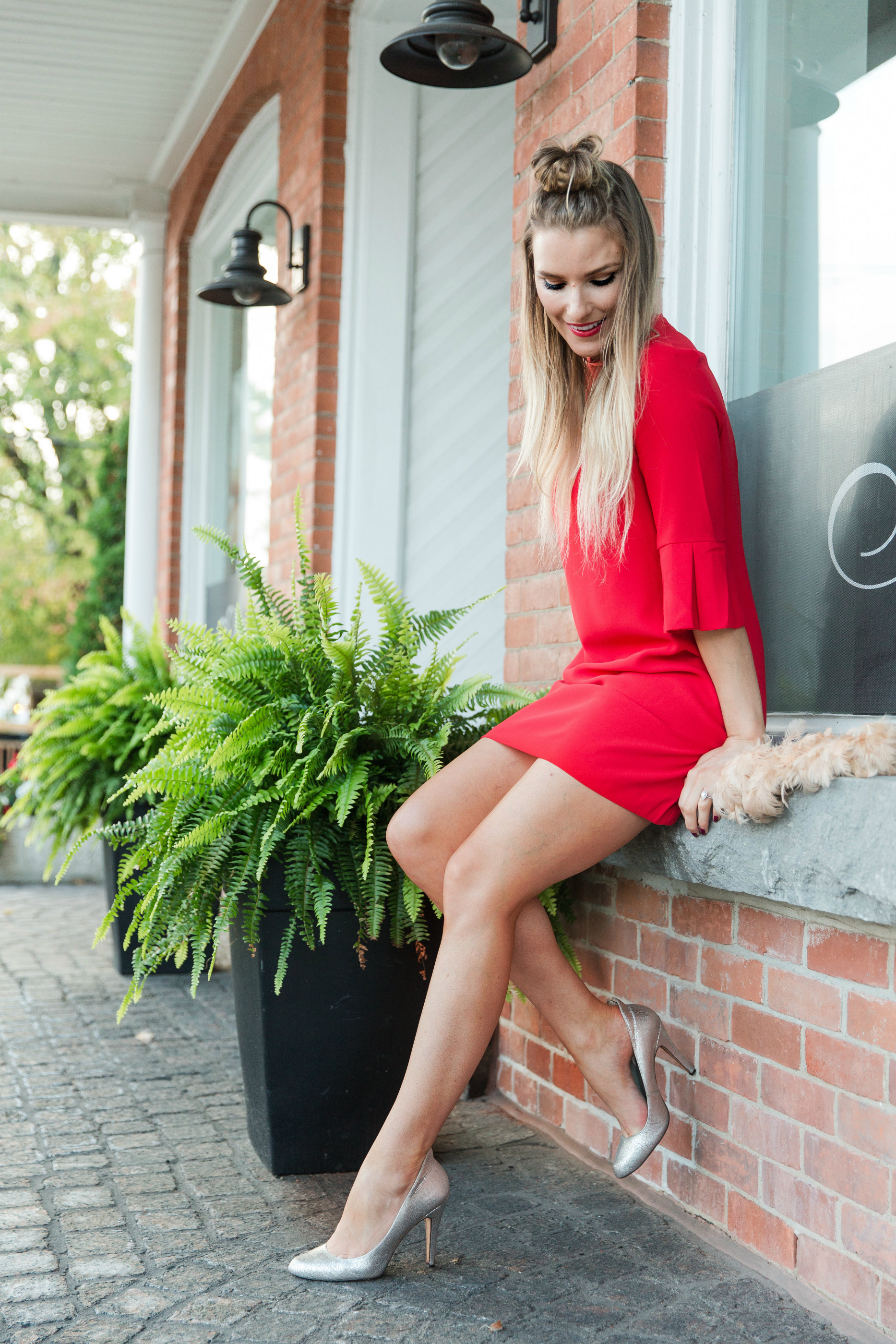 Red Dress And Silver Heels