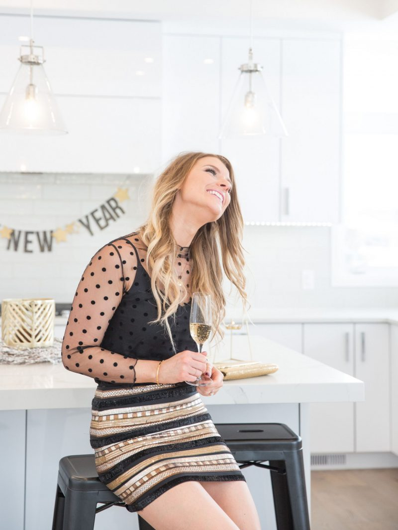 New Years eve at home, mesh top, home decor white kitche
