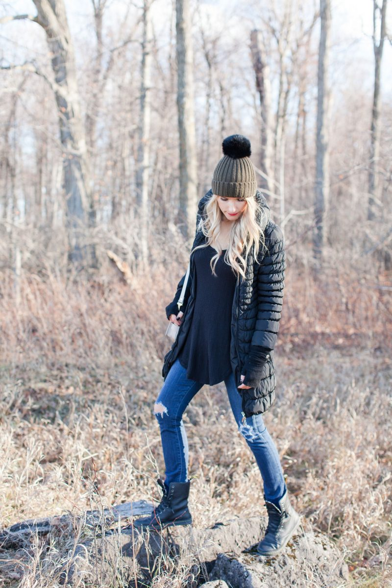 life with aco, amanda conquer, jeans and parka, pom hat, winter outfit inspo