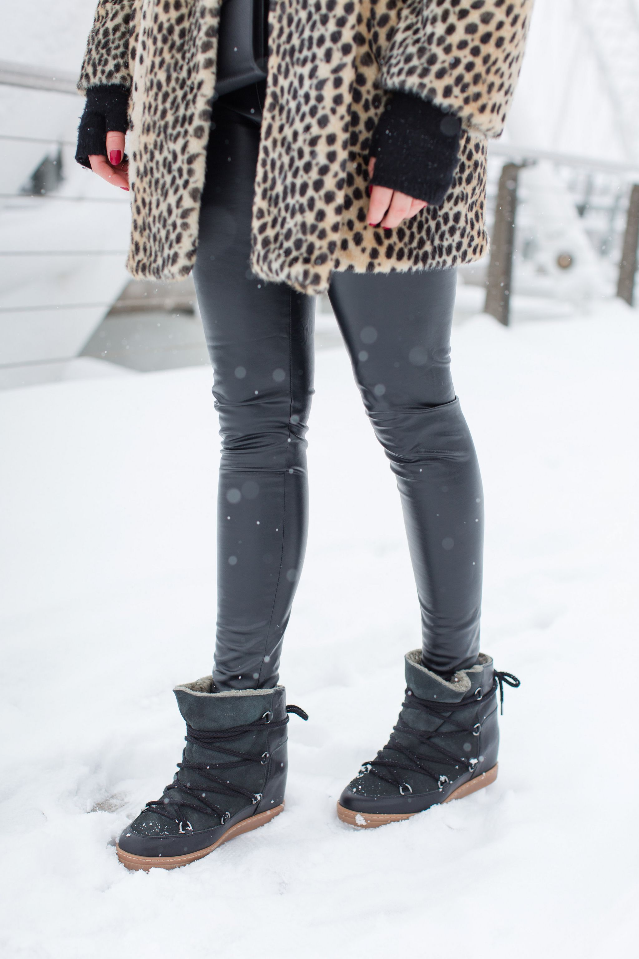 life with aco, isabel marant nowles boots, leopard jacket, winter outfit ottawa