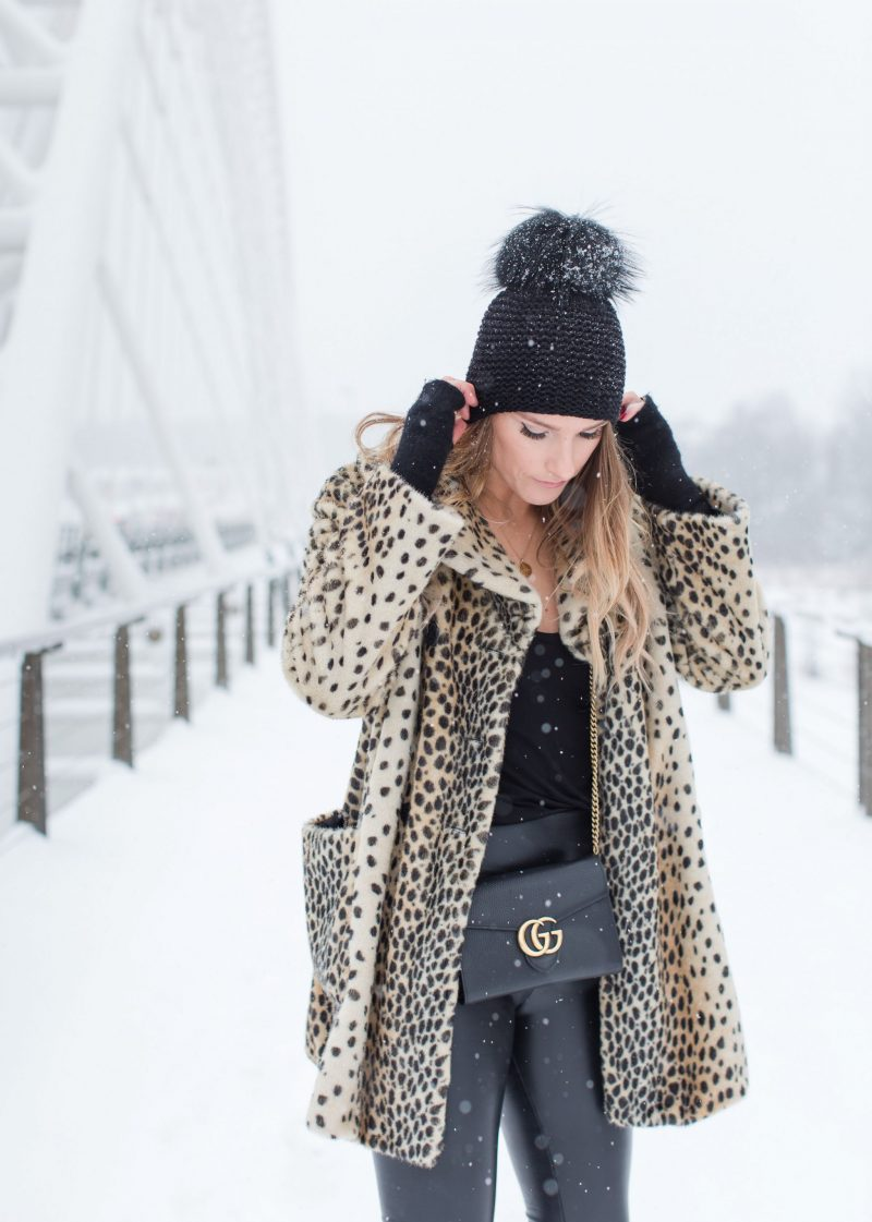 life with aco, leopard coat, winter outfit, fur pom hat