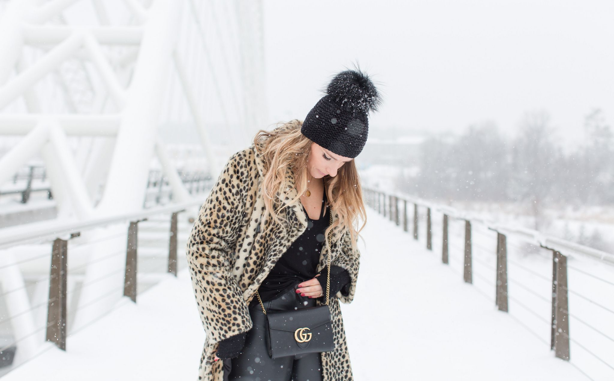 life with aco, leopard coat, winter outfit, gucci chain bag