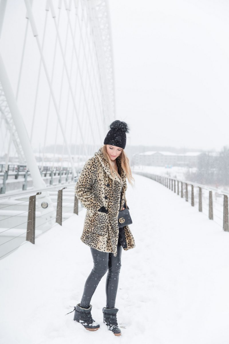 life with aco, leopard coat, winter outfit, ottawa blogger, gucci bag