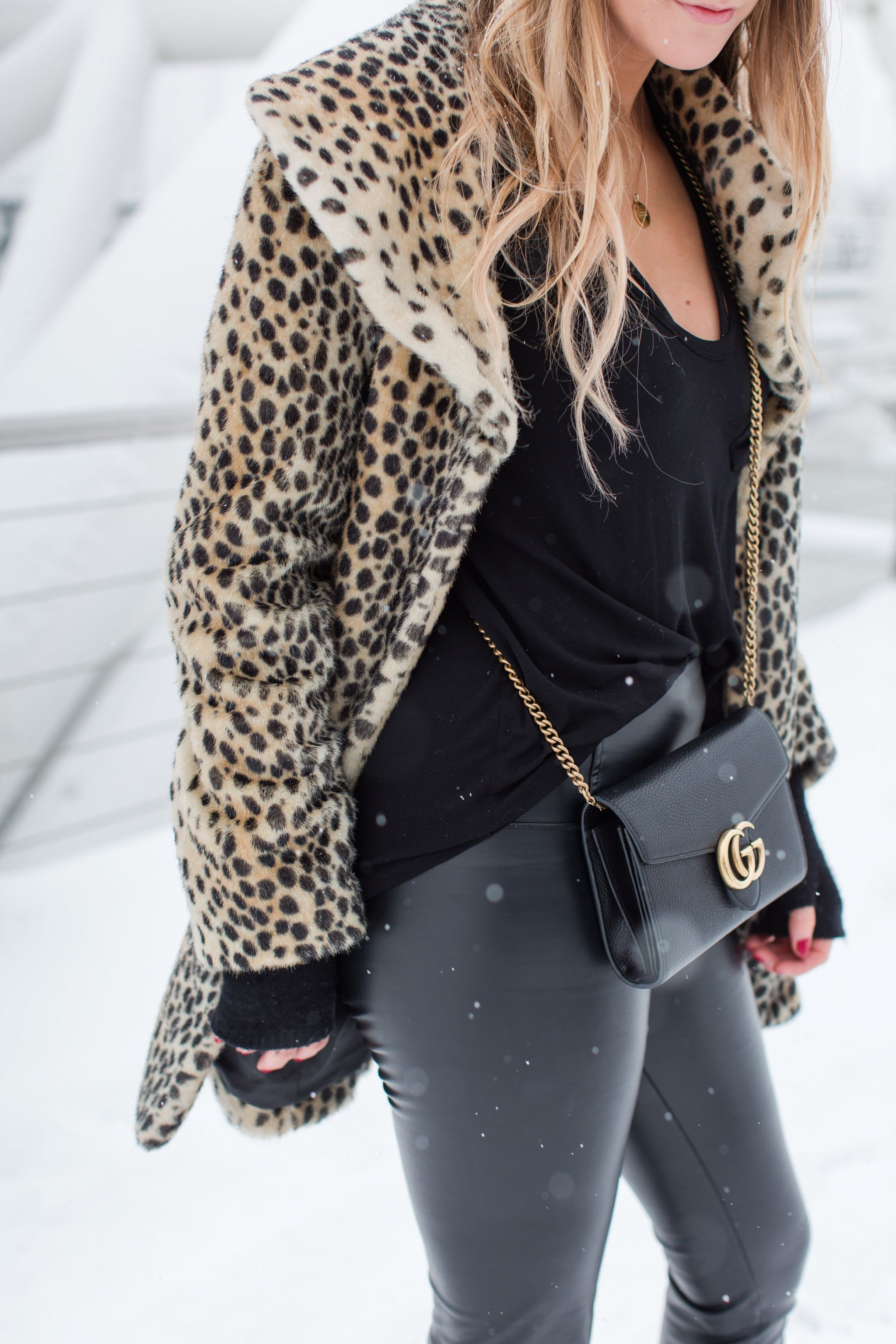 life with aco, leopard coat, winter outfit, snowy outfit
