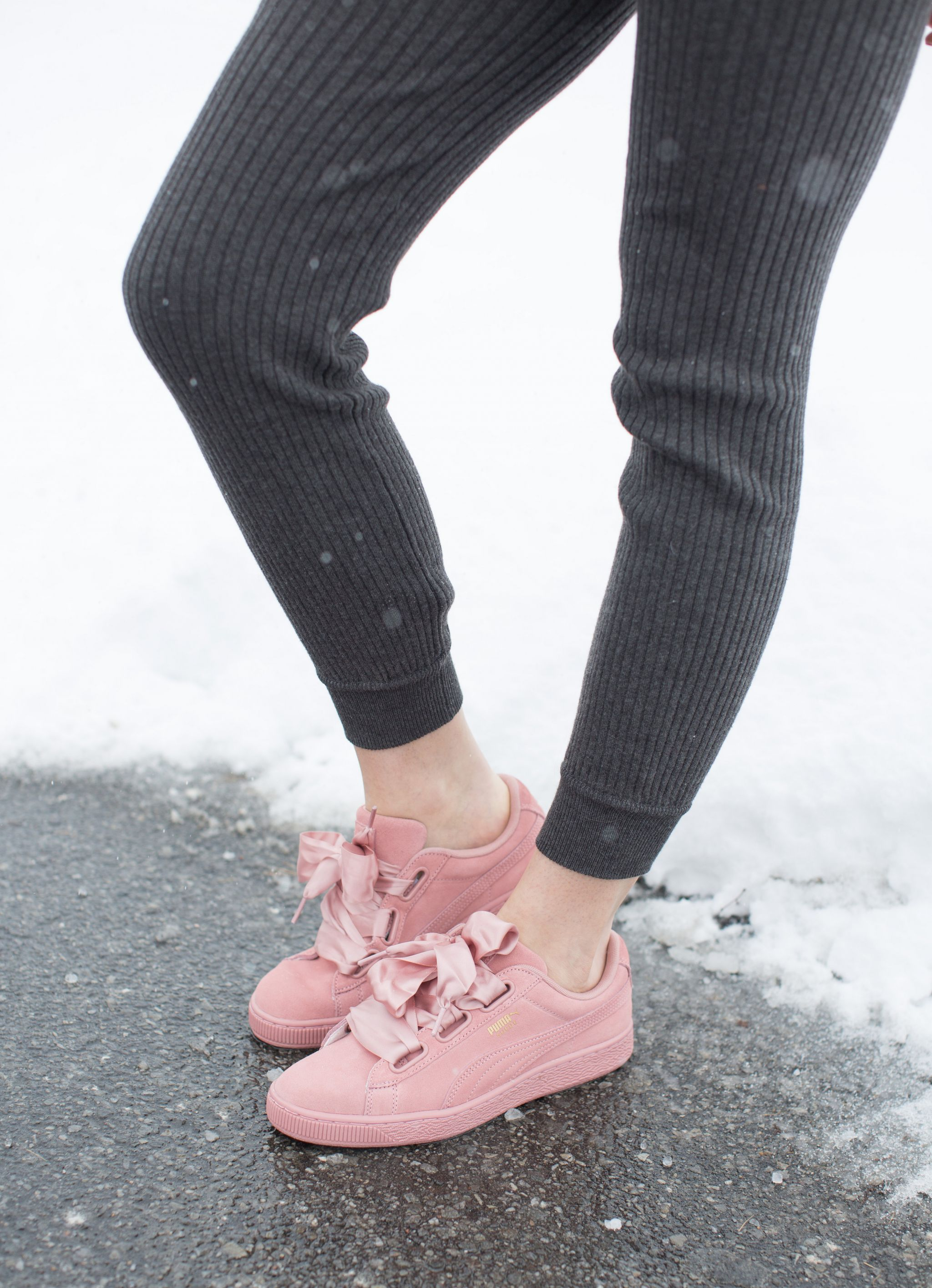 pink puma sneakers, knit joggers, life with aco