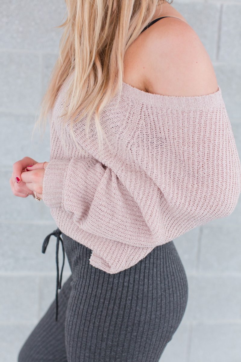 off shoulder sweater, blush sweater, life with aco, blogger picture
