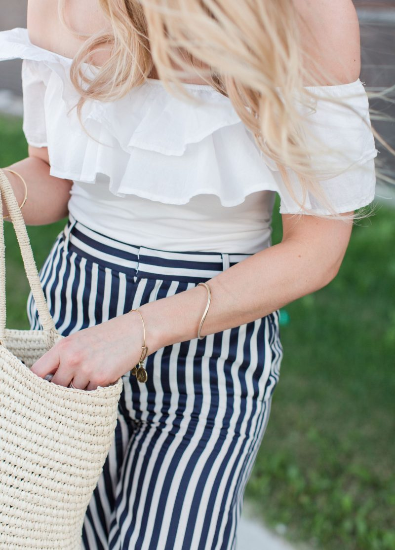 life with aco, off shoulder top, striped pants, weekend shopping deals on sale