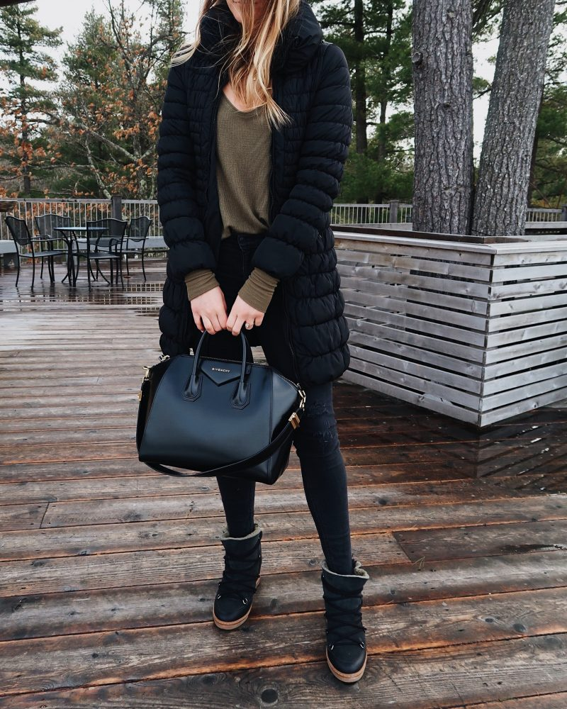 life with aco, puffer jacket, winter outfit, Isabel maranta snow boots