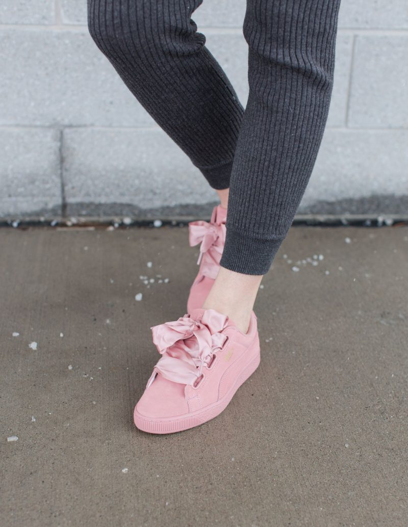 blush puma sneakers, puma shoes with ribbon laces, life with aco, Ottawa blogger