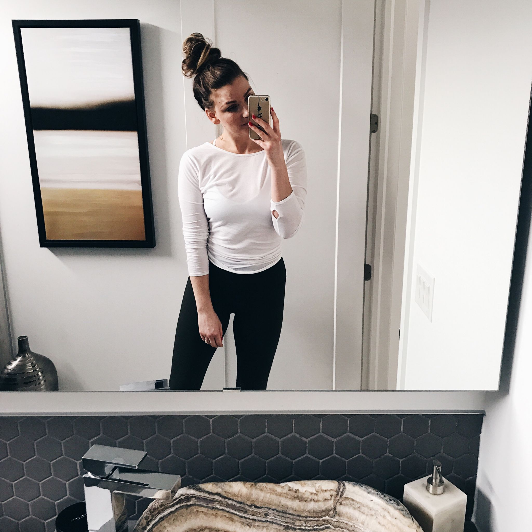 life with aco, gym style, workout outfit, weekend recap, powder room our home