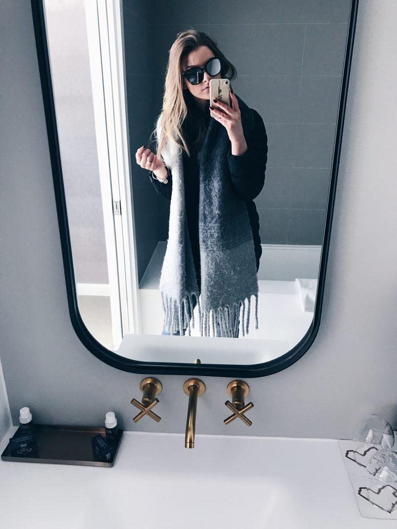 life with aco, mirror selfie, quay sunglasses, grey scarf