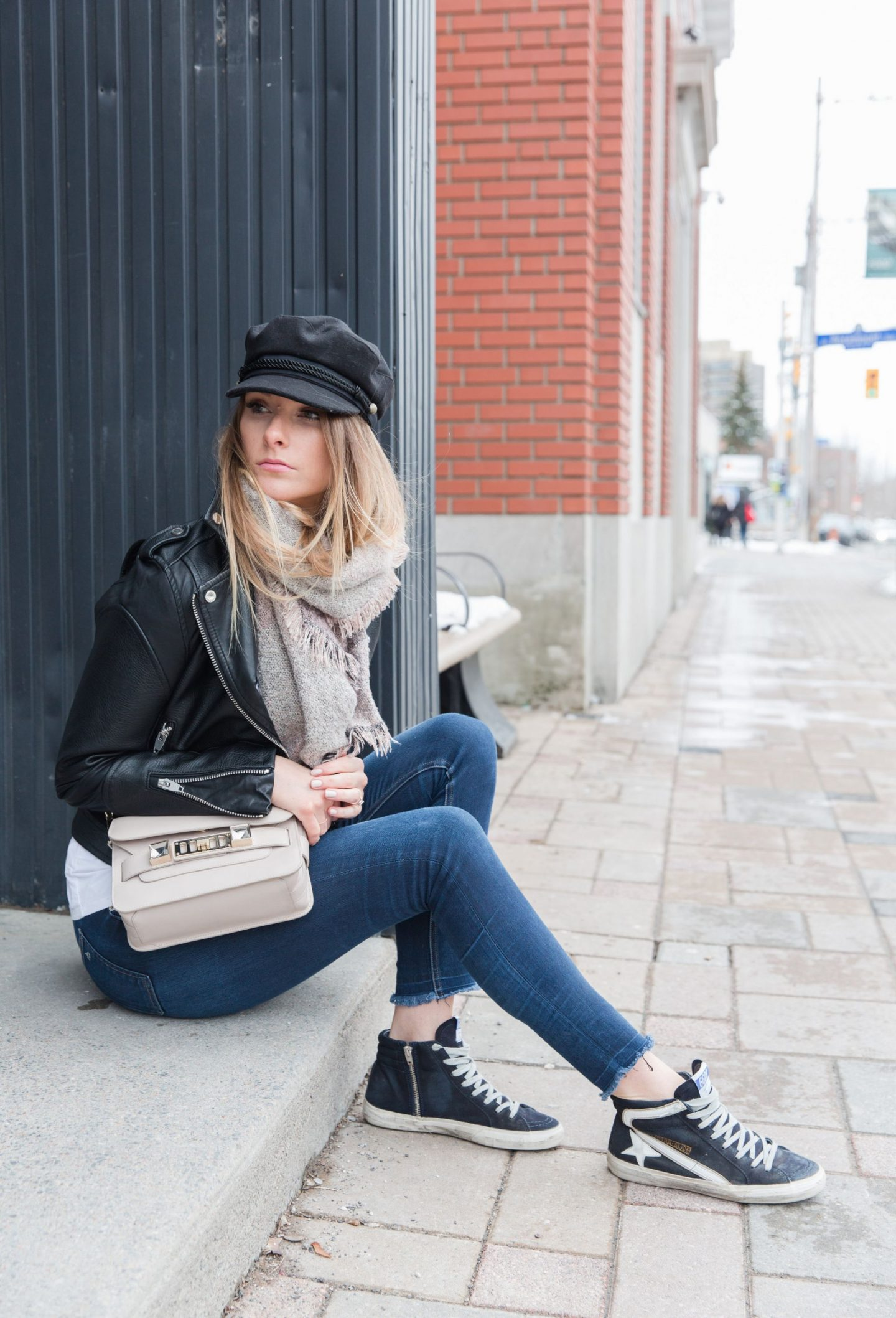 life with aco. Ottawa fashion blogger Amanda conquer, golden goose sneakers, Lorenza shoulder bag, baker boy hat cap
