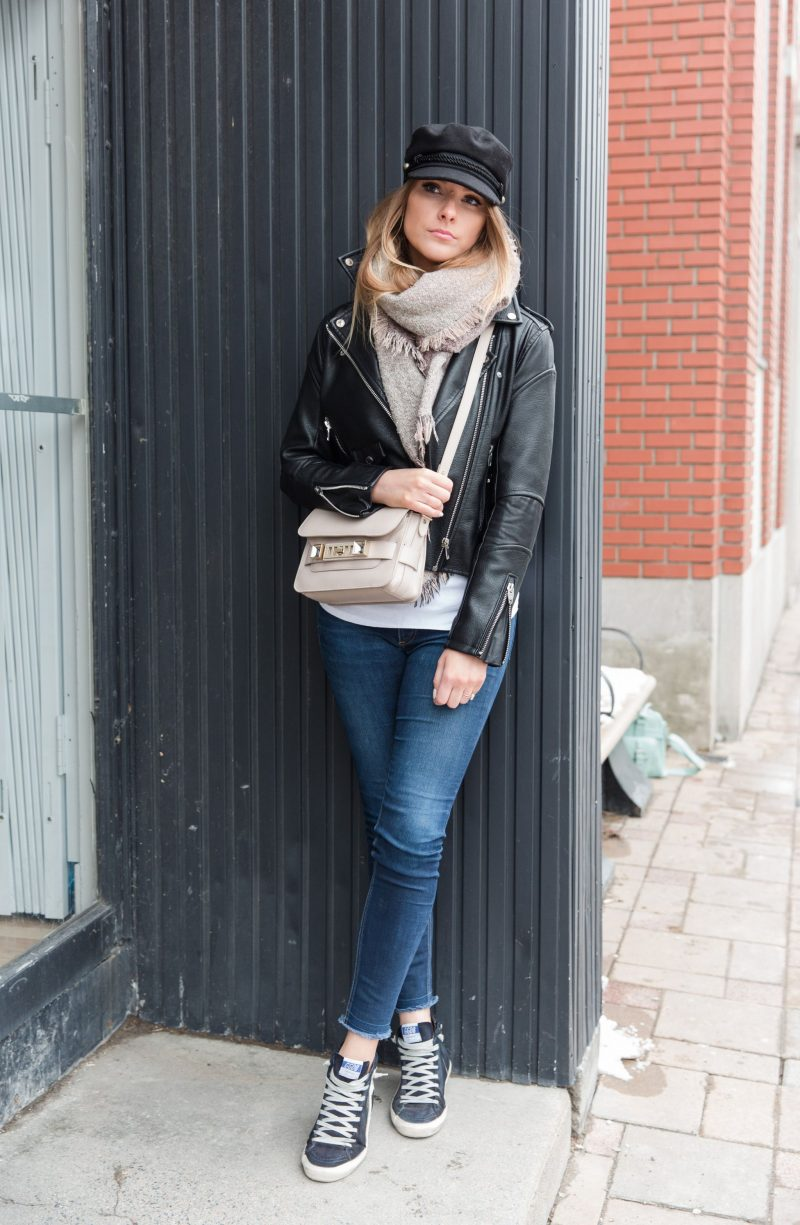 life with aco. Ottawa fashion blogger Amanda conquer, golden goose sneakers, Lorenza shoulder bag, baker boy hat cap