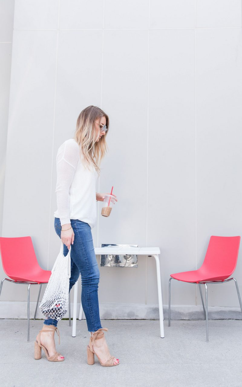 1 person, net fruit bag, trendy blogger