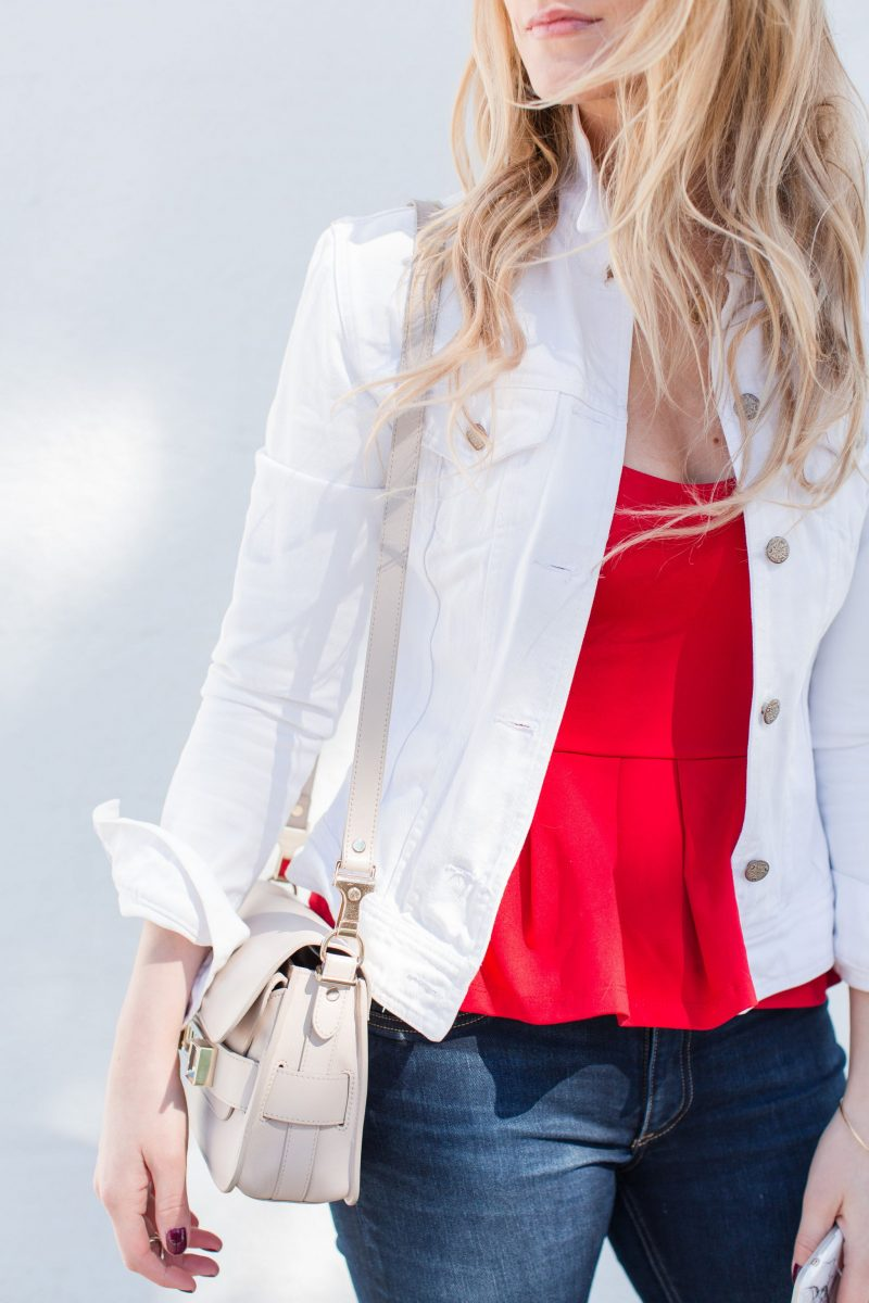 shopbop event 18 sale picks, life with aco, red peplum top, girl in white denim jacket