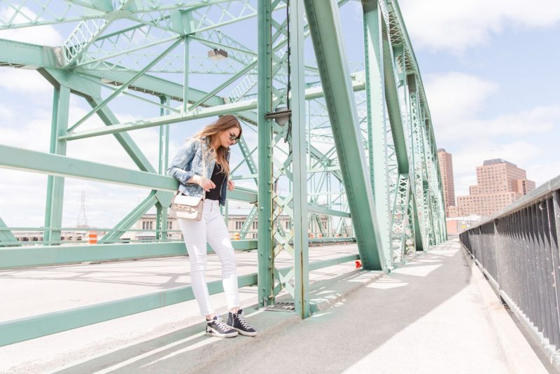 1 person, fashion blogger on bridge, Ottawa bridge