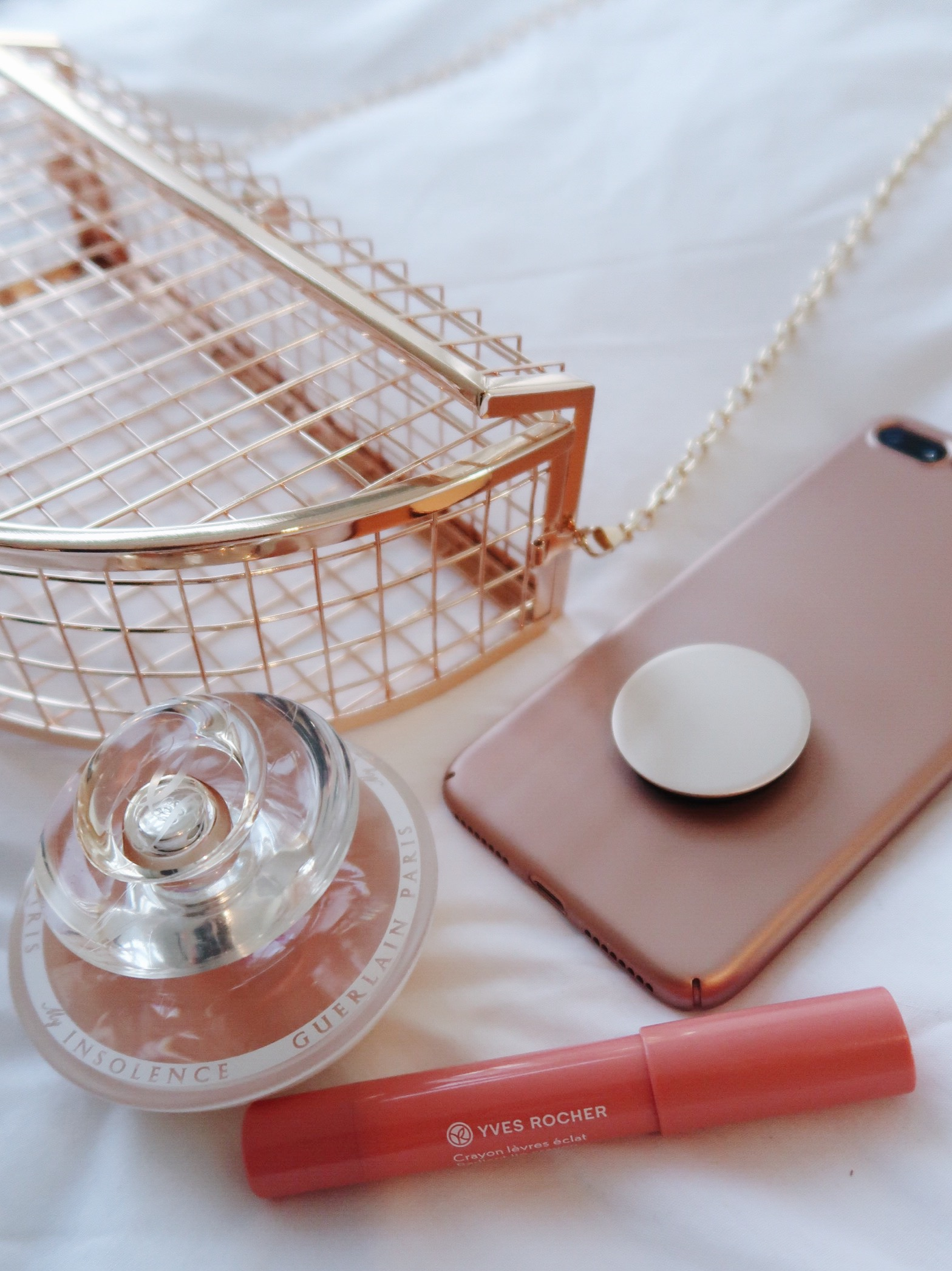life with aco, rose gold cage bag, evening bag