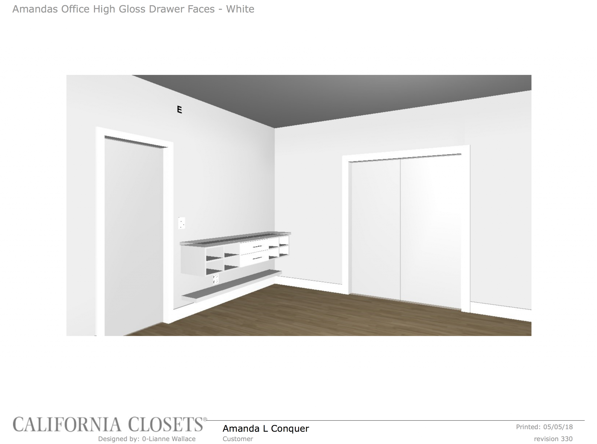 California closets digital design mock up for office