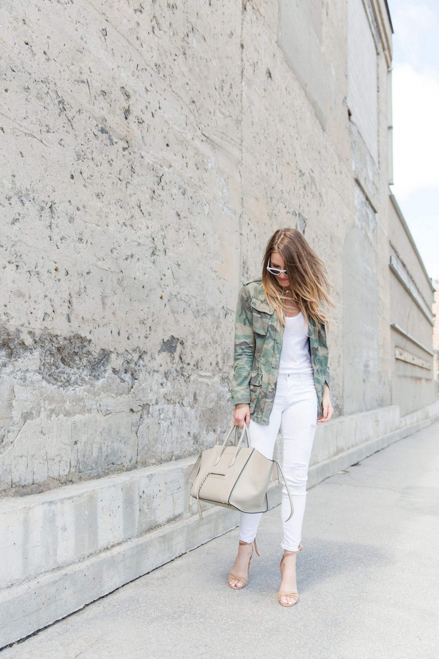 1 person, fashion blogger, camo jacket and Celine phantom bag