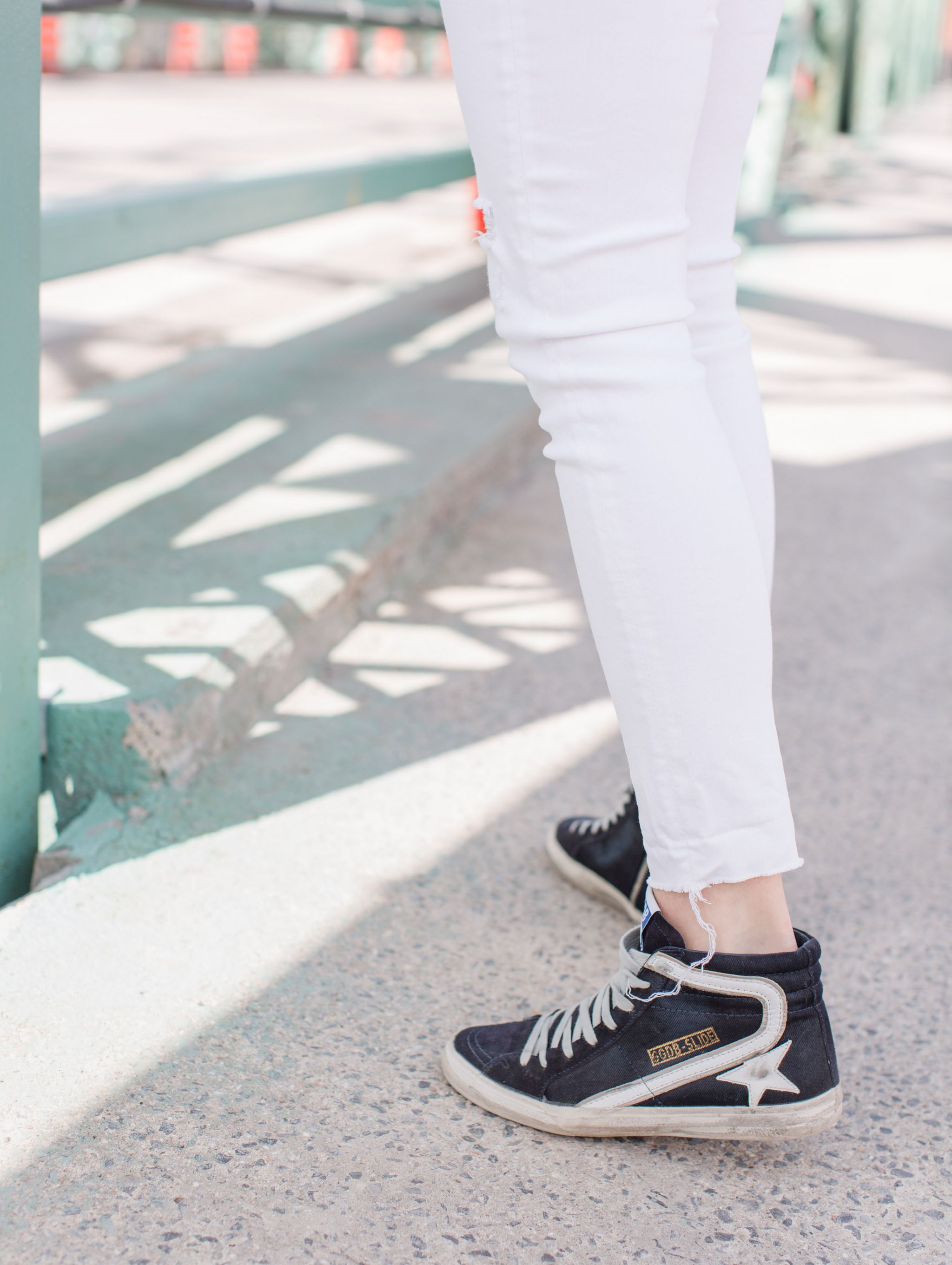 1 person, sneaker shot, golden goose shoes on fashion blogger