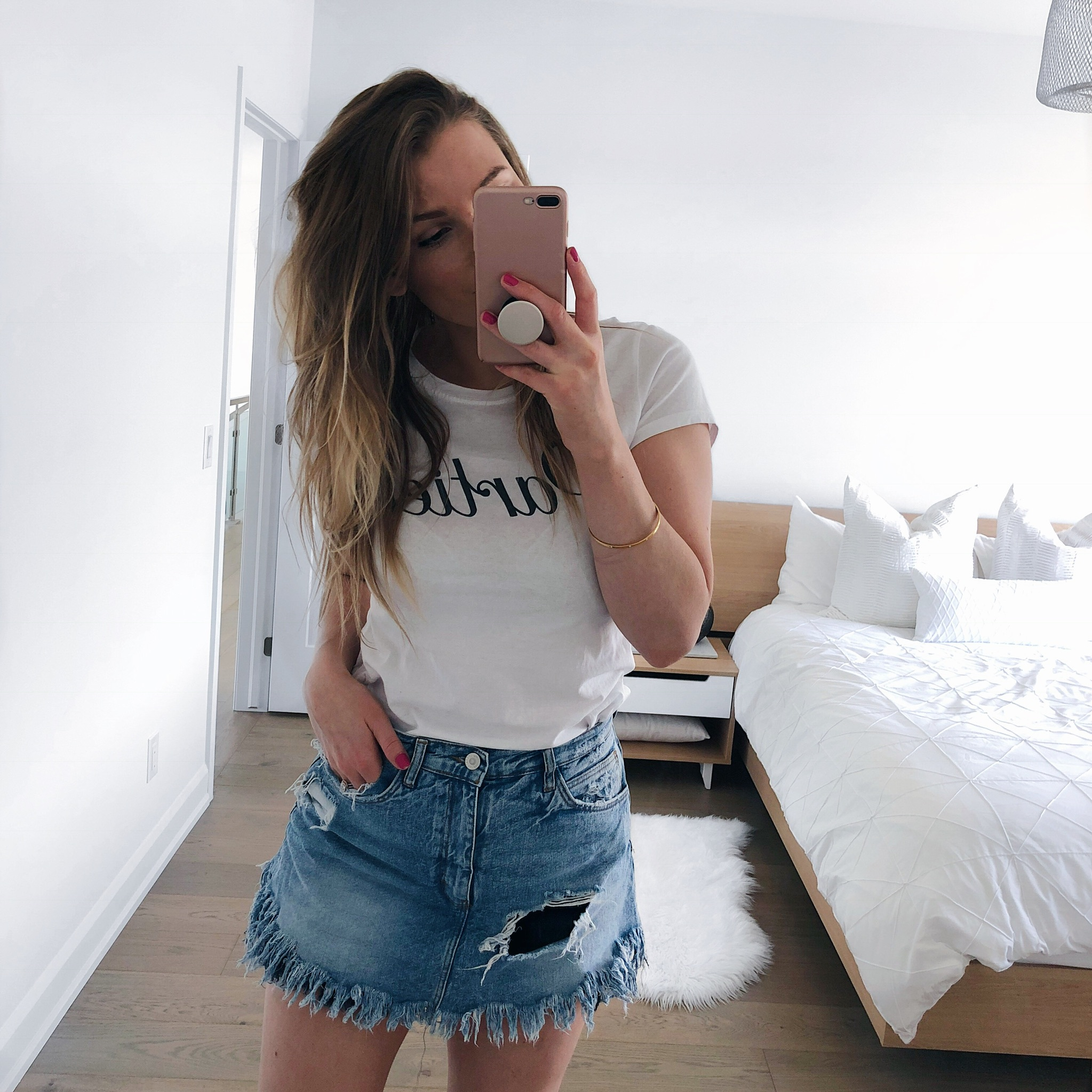 1 person, mirror selfie, denim skirt and graphic tee