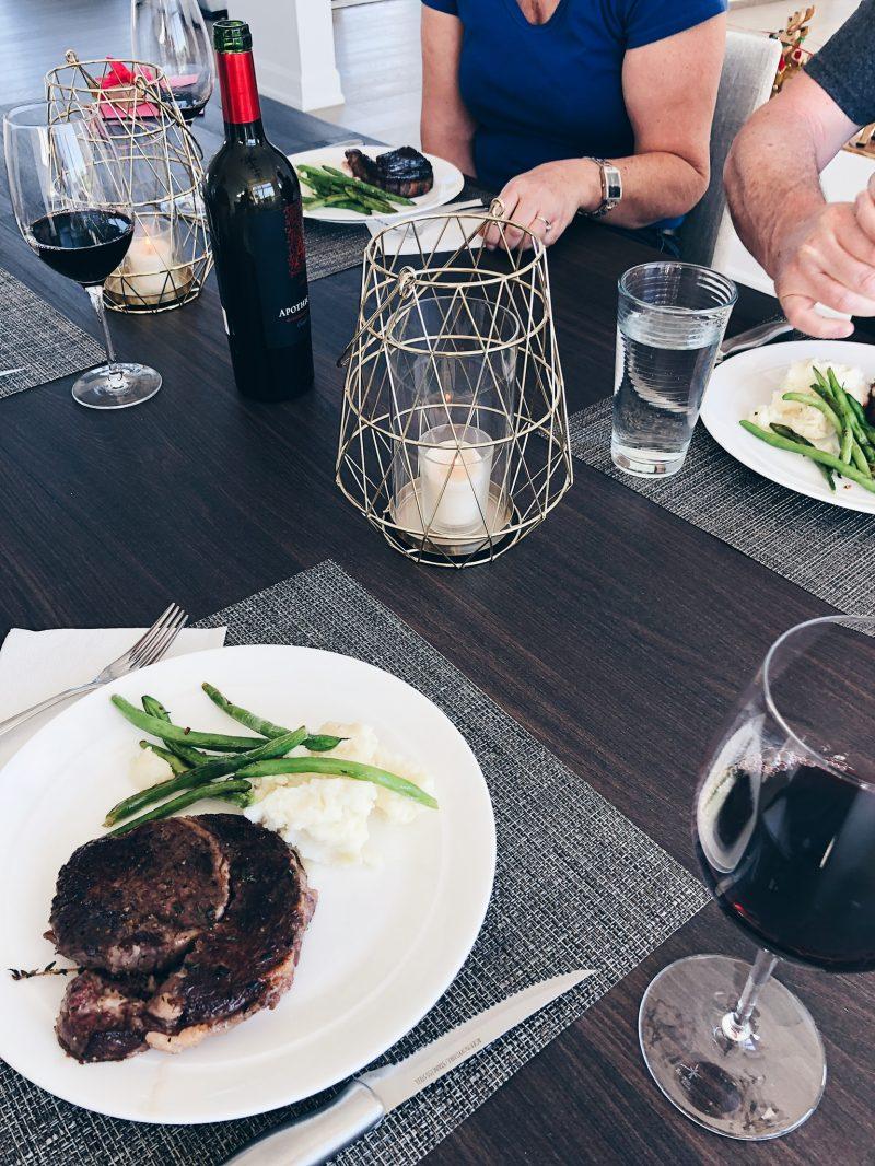 table setting, steak dinner