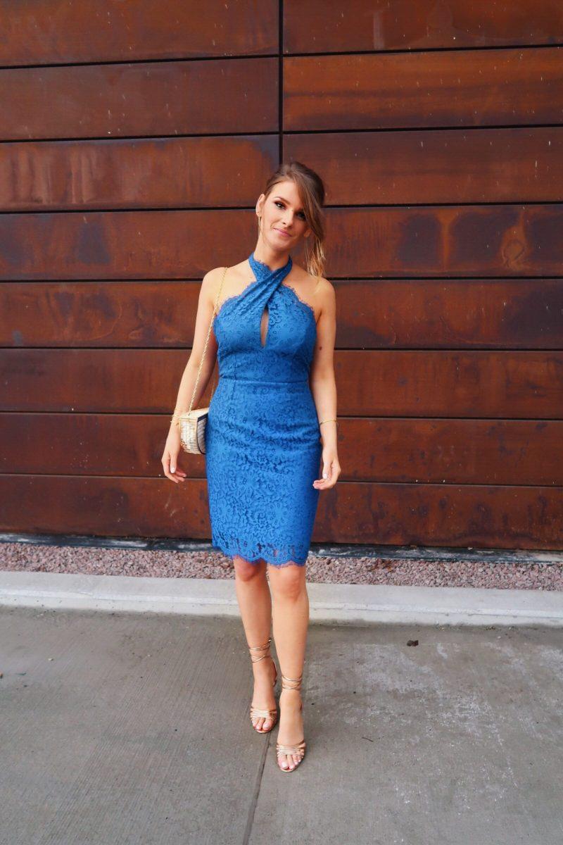 1 person, blue lace keepsake dress, cage bag purse