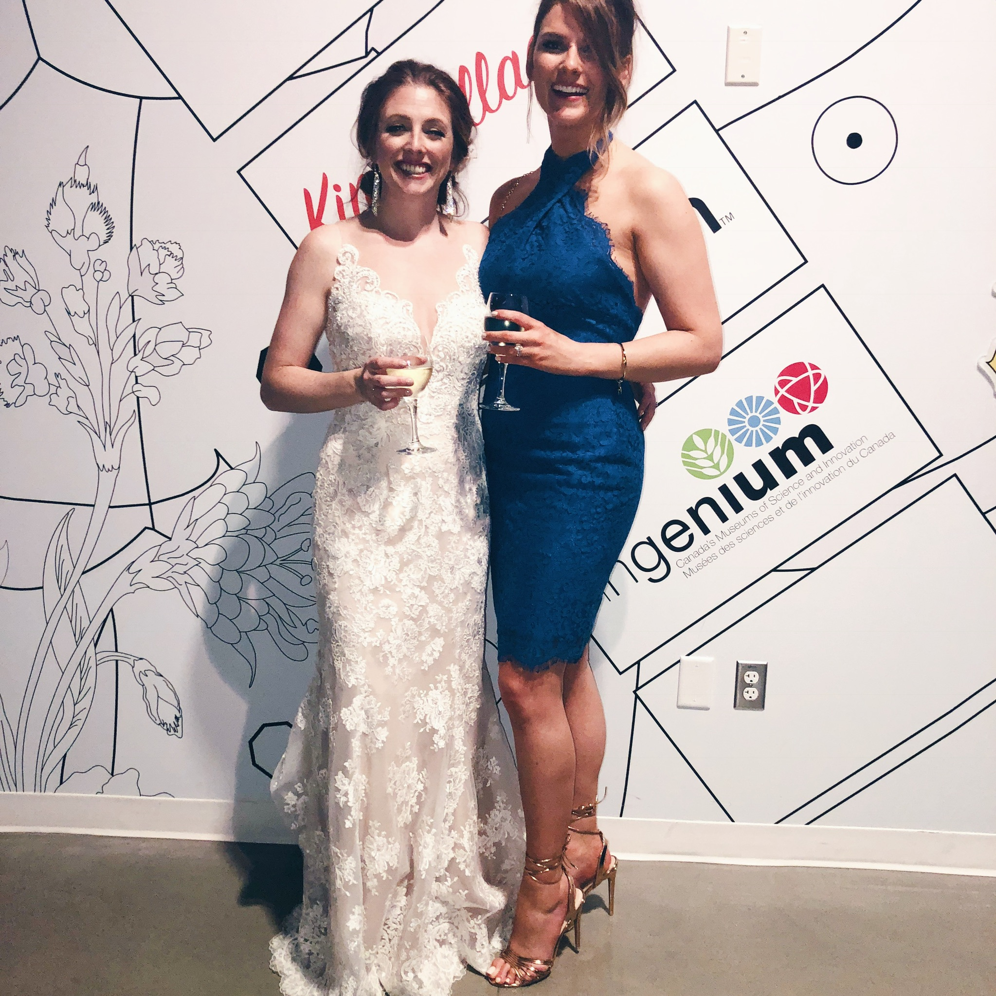 2 people, bride and friend, blue lace dress