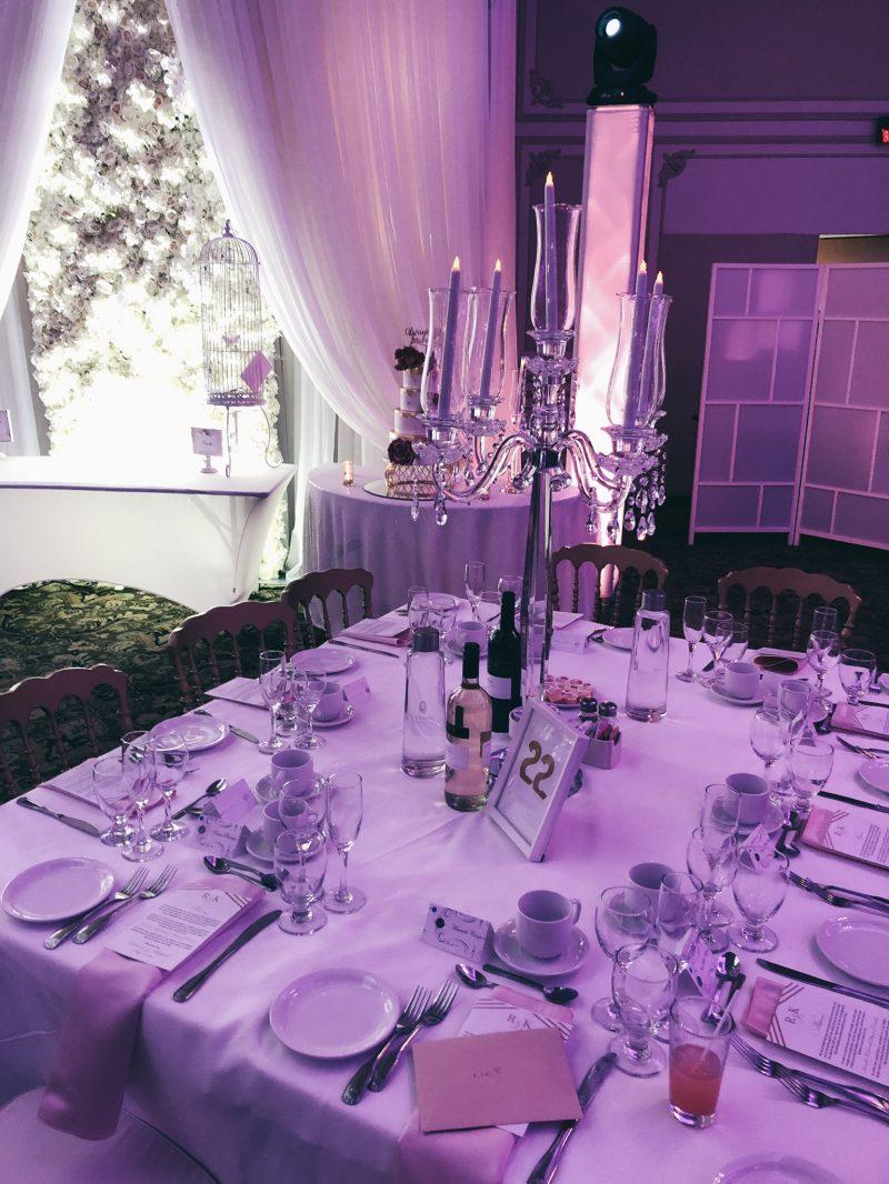 Lebanese wedding, table setting, purple lights