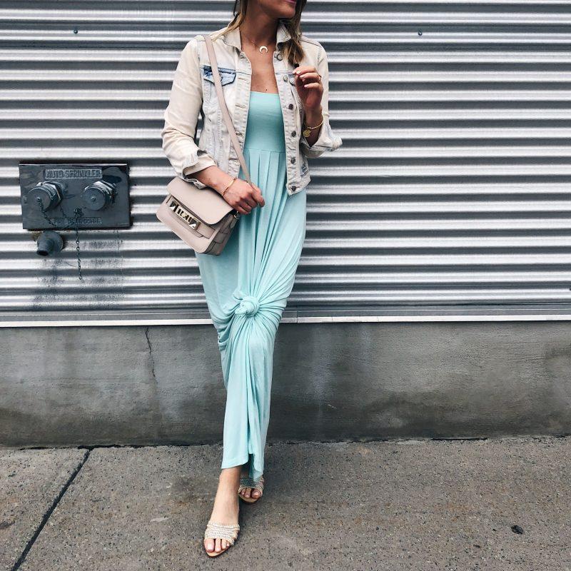 1 person, mint maxi dress and jeans jacket, flat slides