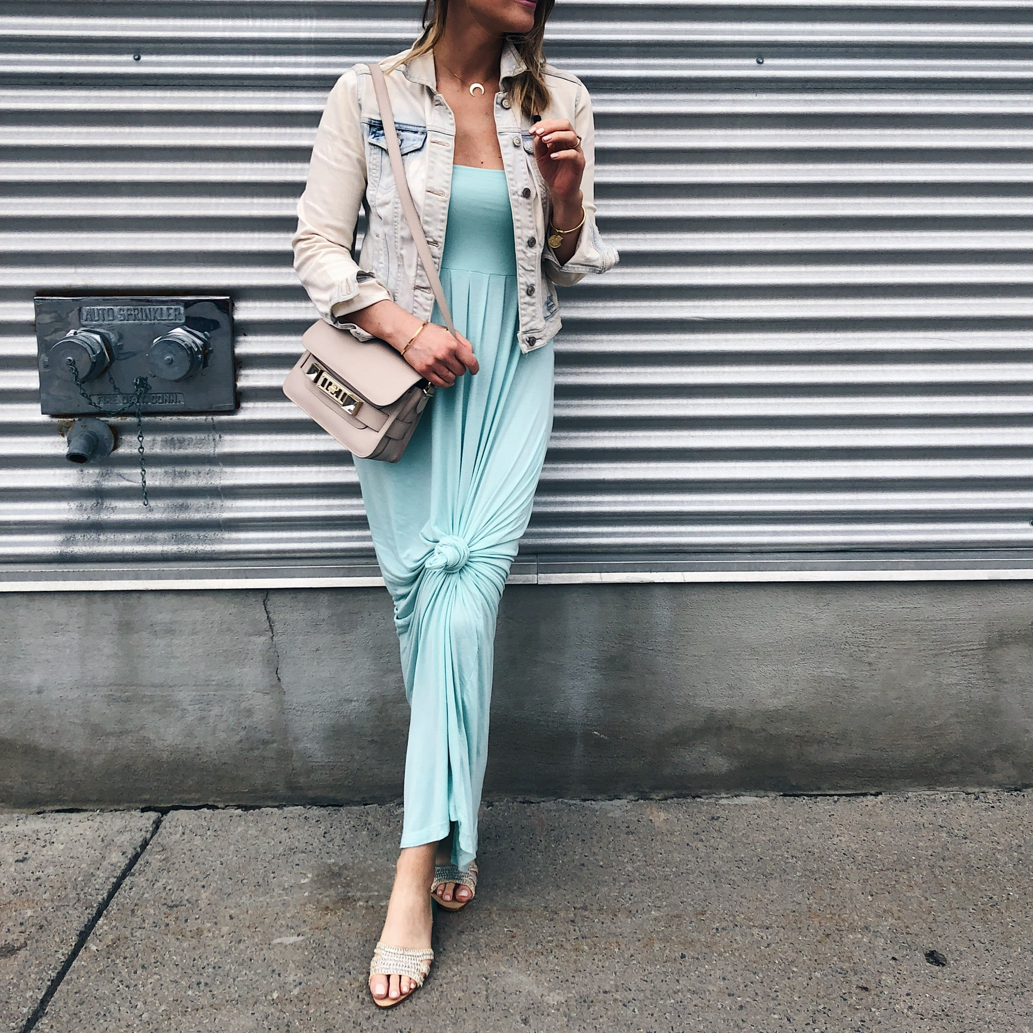 1 person, mint maxi dress and jeans jacket, flat slides