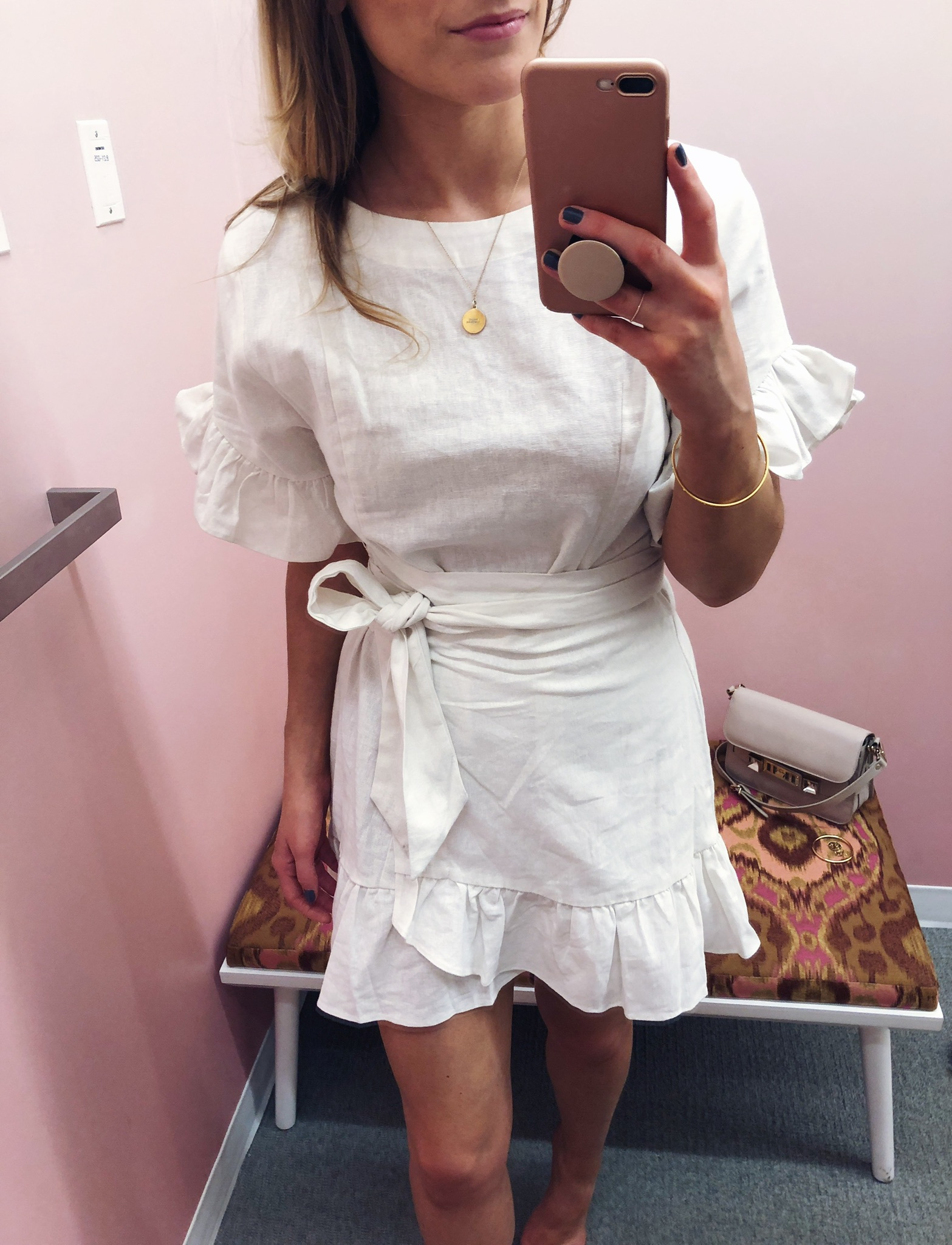 1 person, fitting room try on, girl in white dress