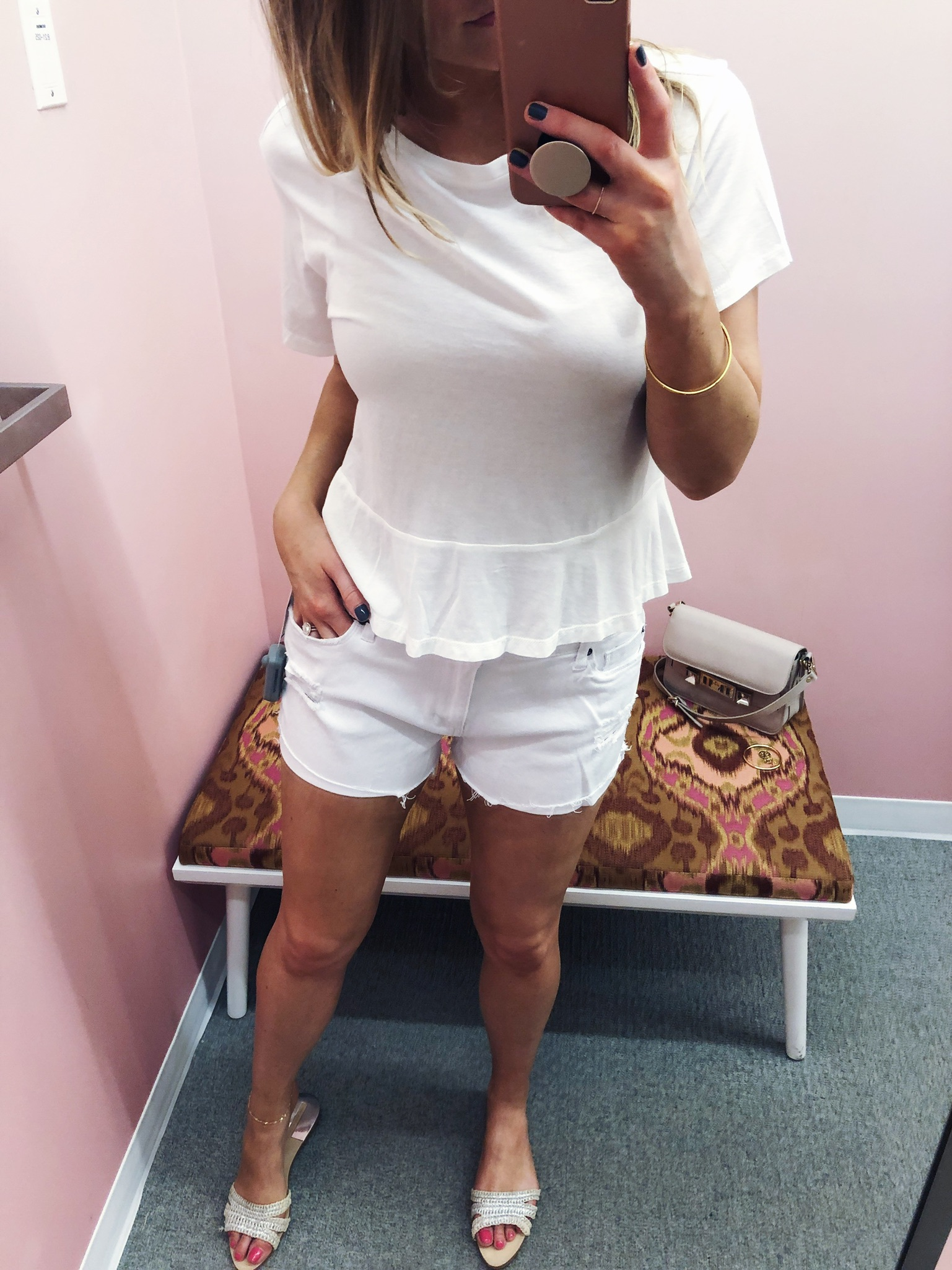1 person, fitting room try on, Nordstrom half yearly sale, all white outfit