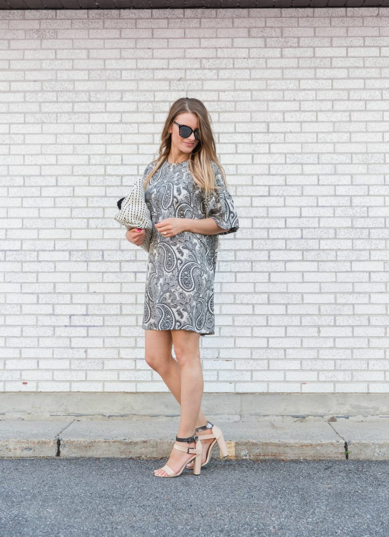 1 person, girl wearing paisley dress and sunglasses