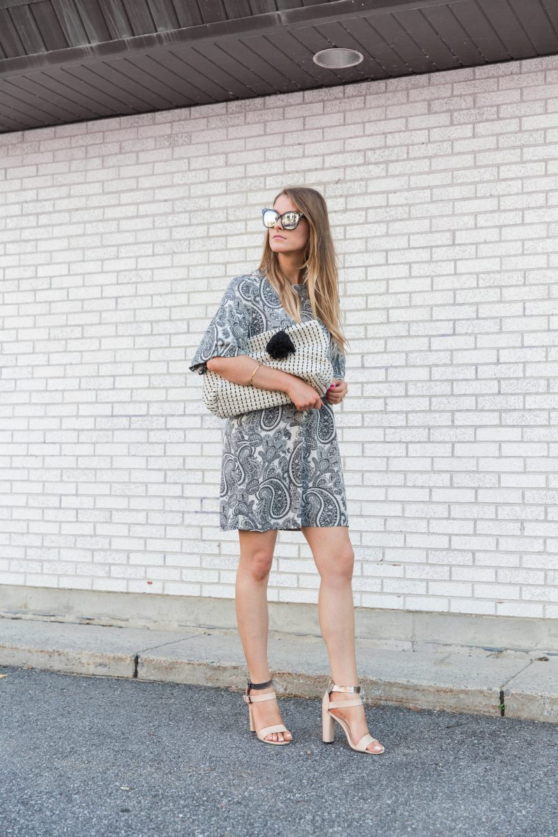 1 person, girl wearing paisley dress
