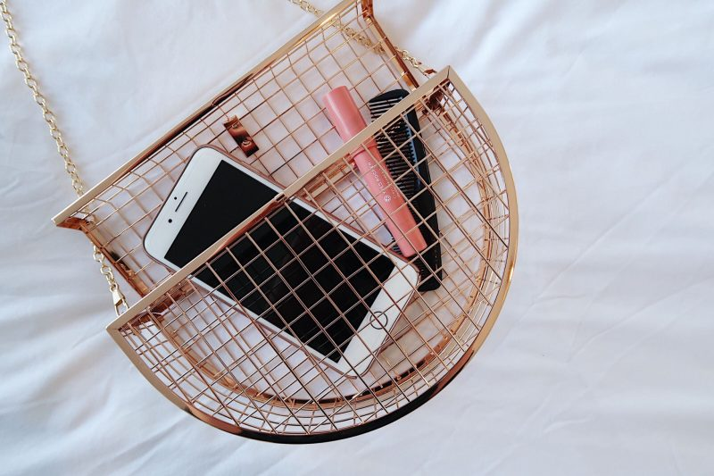 1 cage purse, see through bag, contents contain iphone 8 and lipstick