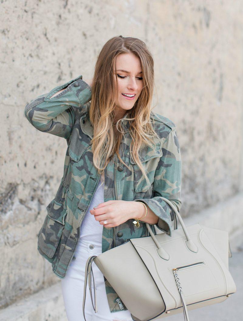 1 person, fashion blogger, camo jacket and Celine phantom bag