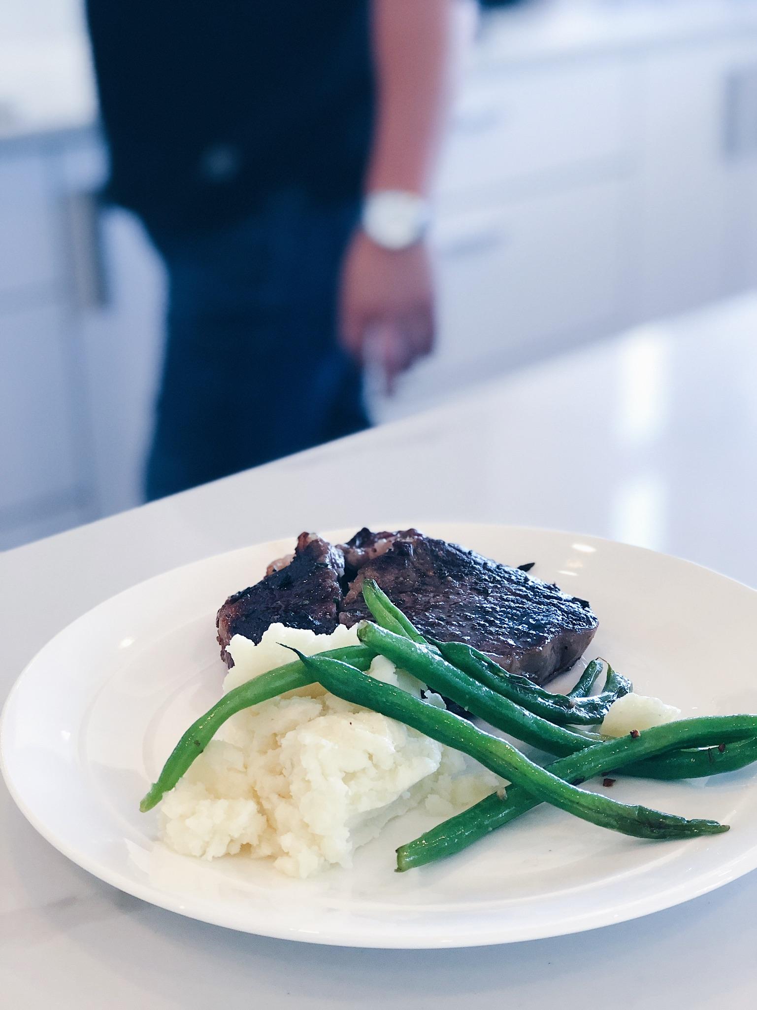steak dinner on the counter