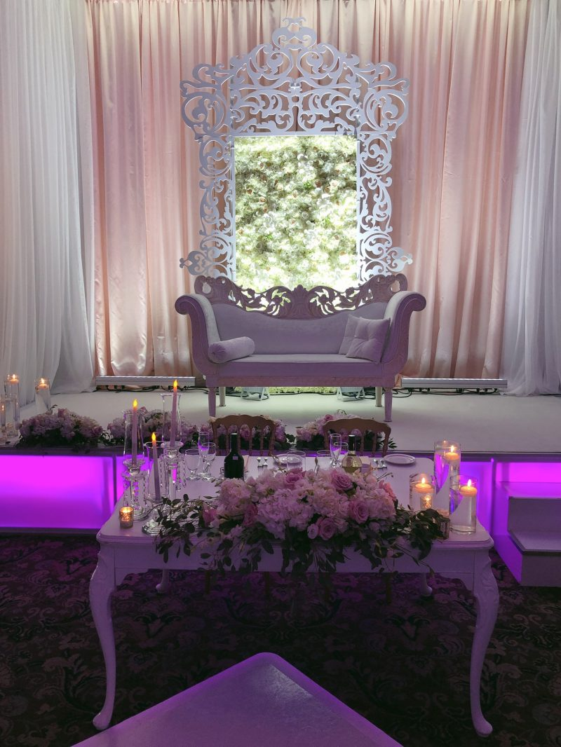 Lebanese wedding, stage with couch, purple lights
