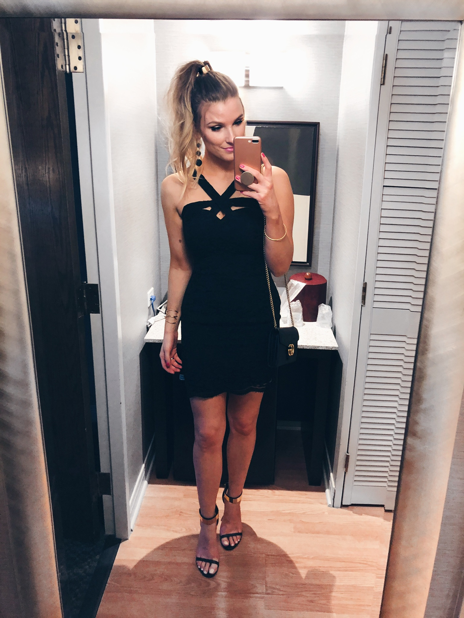 1 person, blonde girl in black dress, wedding guest
