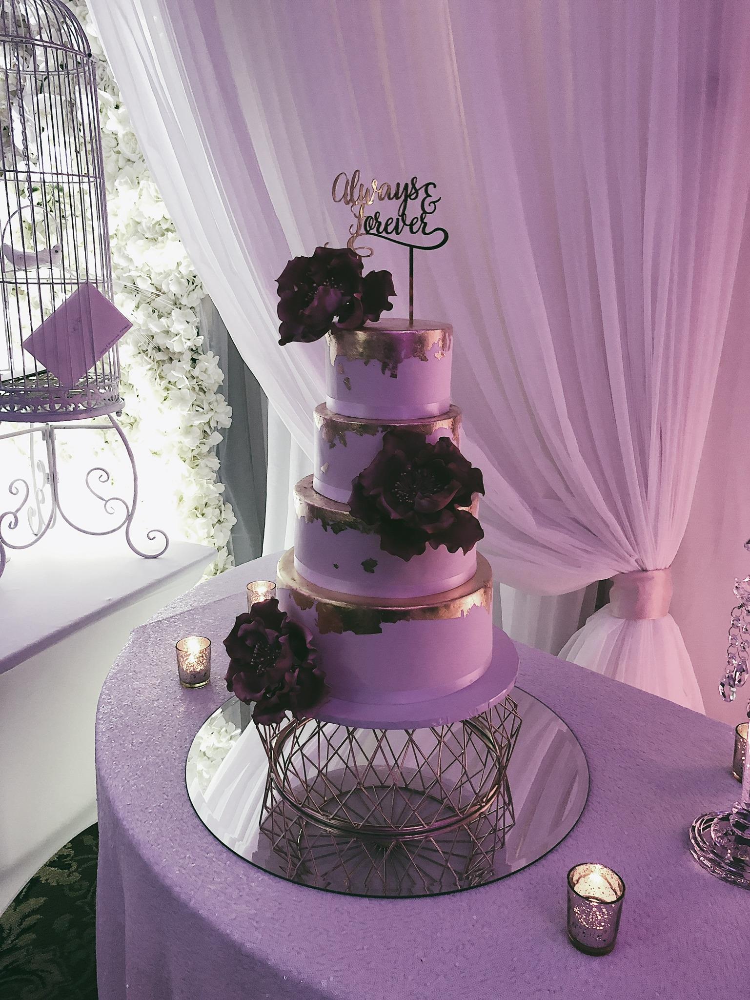 Lebanese wedding, cake, purple lights