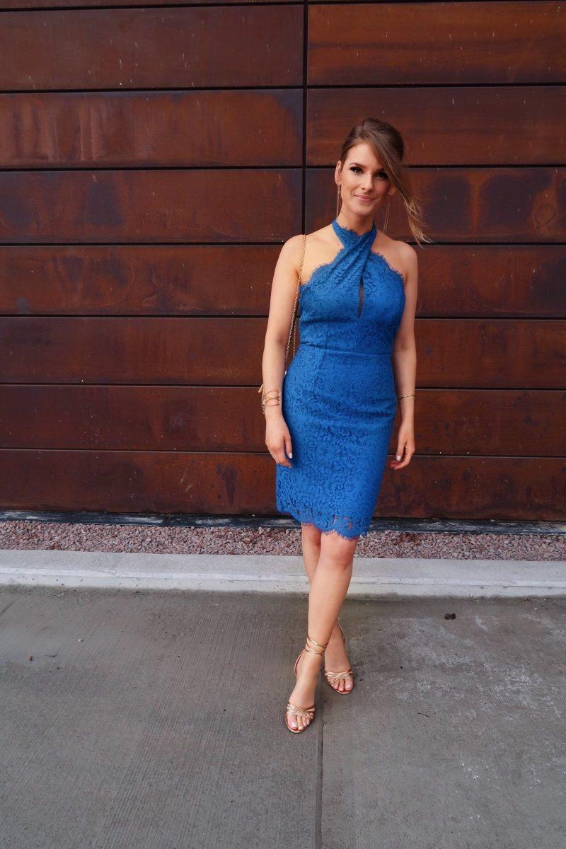 1 person, blue lace keepsake dress, cage bag purse, rose gold lace up shoes