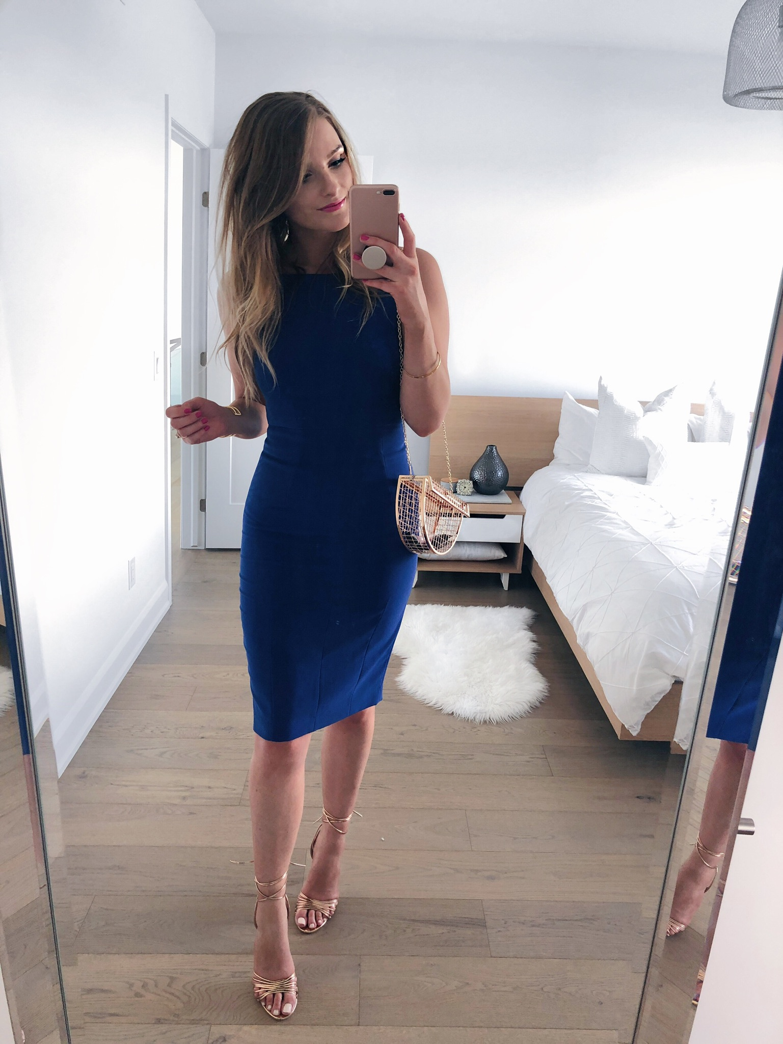 1 person, mirror selfie, blue dress, wedding guest outfit