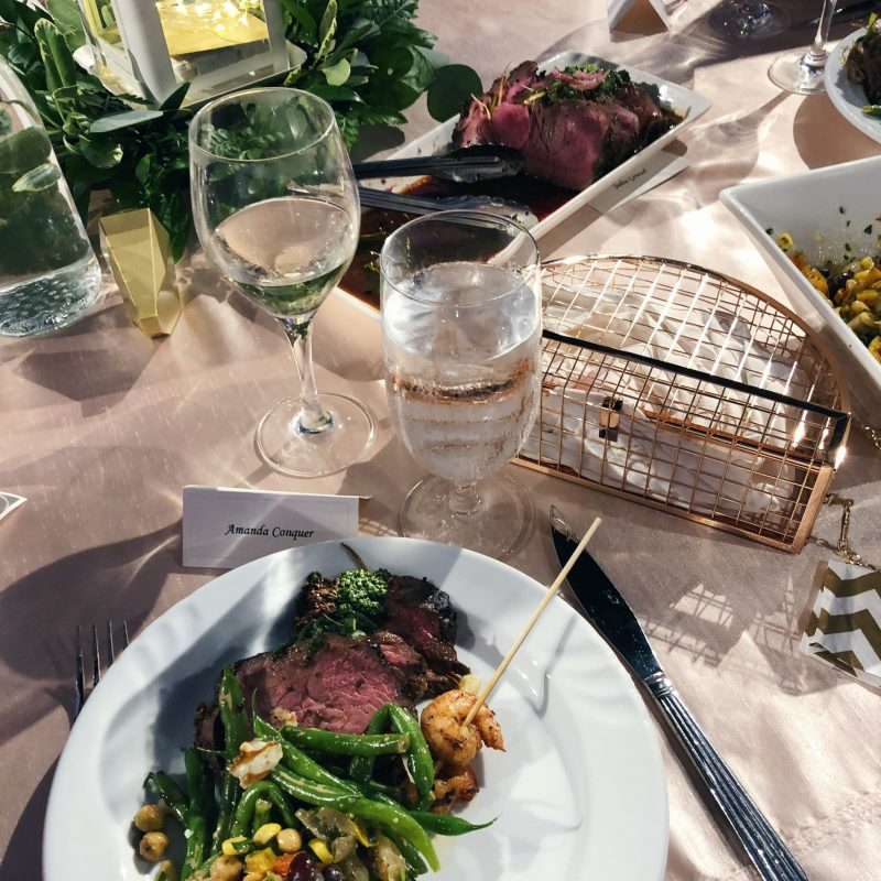 wedding guest table food, rose gold cage purse