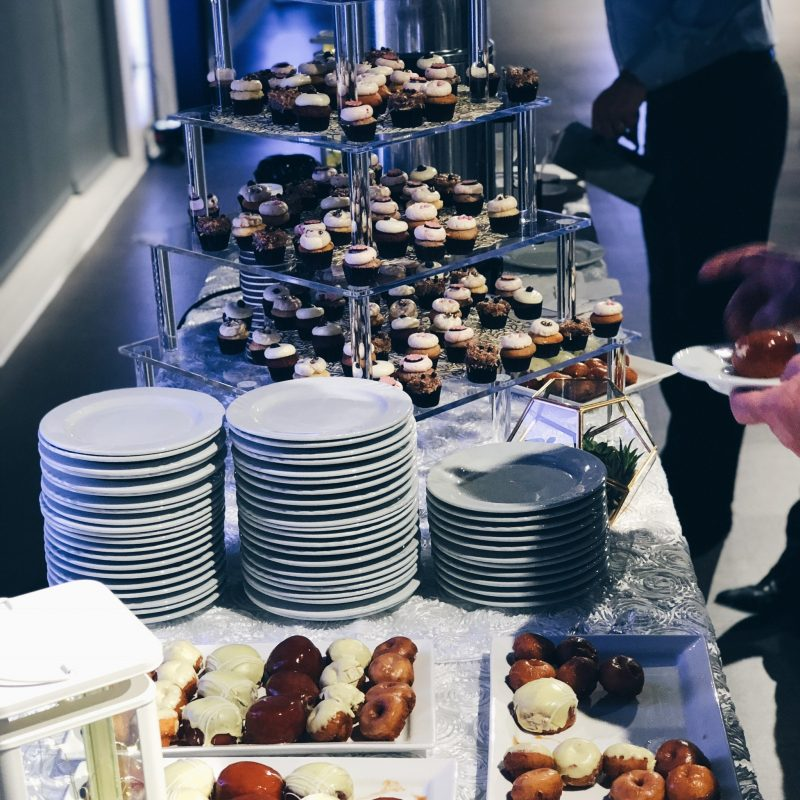 wedding donut table, cupcake tower
