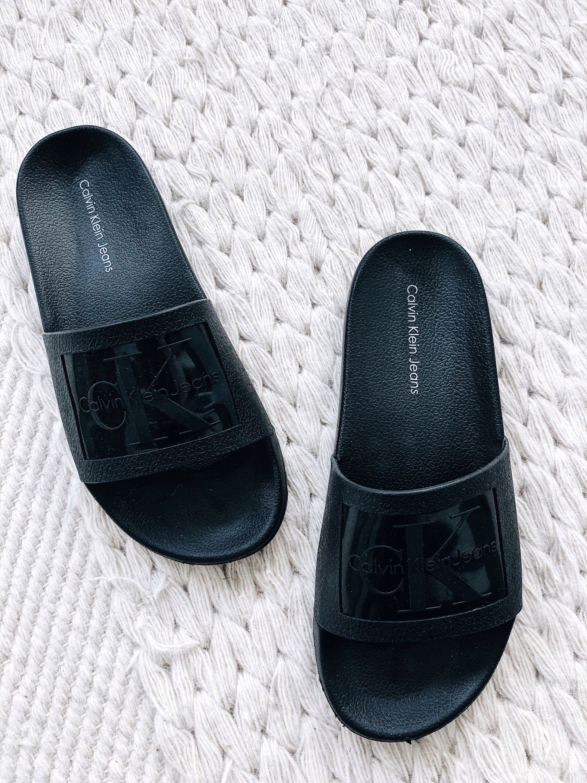Calvin Klein black slides