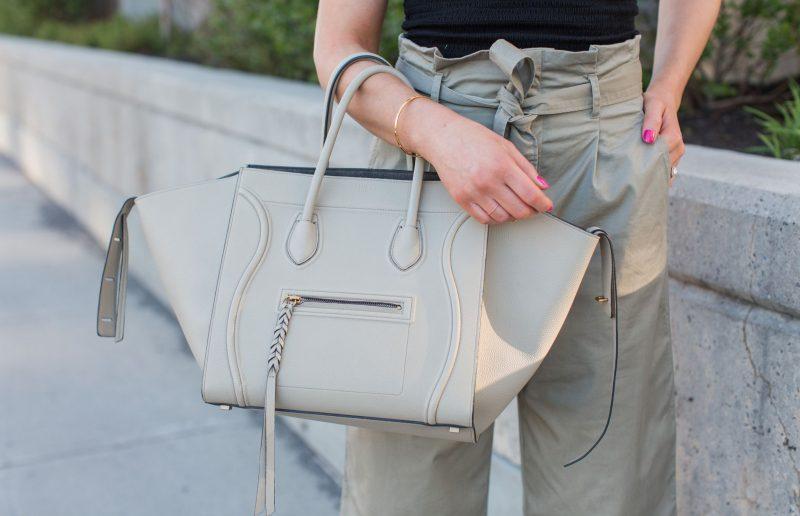 1 person, tie waist pants, Celine phantom grey